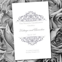 Printable Wedding Program Template Grace Gray by WeddingTemplates