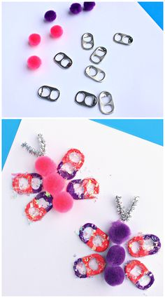 Soda Pop Tab Butterfly Craft - So created and could really cheer up someone battling cancer! Make one to be part of Butterfly Hugs! Spring Crafts For Kids, Crafts For Kids To Make, Craft Activities For Kids, Summer Crafts, Preschool Crafts, Easter Crafts, Soda Tab Crafts, Diy Pour Enfants, Pop Tabs