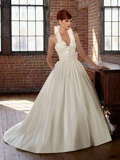 Ruffled halter ivory bridal dress at FTCline.com