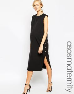 Image 1 of ASOS Maternity Column Dress With Popper Sides