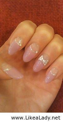Pink ribbon stilleto nails