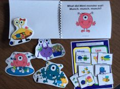$ Kids love the monsters in Monsters Munch! Speech Therapy Bundle. Over 20 activities,  Includes 3 products: sound-loaded Articulation and Grammar Story, Prepositions Game and Speech and Language Activities. Improve /m/, /ch/, concepts, syntax, categories, story retell, following directions and more. #speechtherapy, #TPT