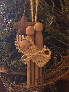 Primitive Christmas Nativity Rusty Tin Barn Star Wood Clothespin Ornament Burlap