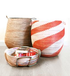 Jjangde baskets: made with organic grasses and recycled plastics, these conscious consumer goods are great for hampers and books