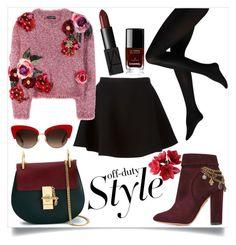 """#polyvore #ootd #autumn  #maroon #black #sweater #skirt"" by yohanaisabella ❤ liked on Polyvore featuring Neil Barrett, Dolce&Gabbana, Chanel, NARS Cosmetics, Aquazzura and Chloé"