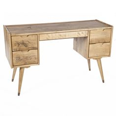 The Joren Vanity Desk's mid-century design is bench crafted with the highest quality materials to ensure lasting durability. The linear design is paired with elegantly tapered legs to add a touch of classic sophistication to any office space.