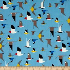 Designed by Charley Harper for Birch Organic Fabric, this nautical themed GOTS certified organic cotton print fabric is perfect for quilting, apparel and home décor accents. Colors include red, yellow, brown, grey, black and blue.