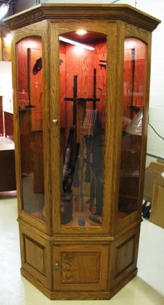 Amish Mt. Eaton Corner Swivel 10 Gun Cabinet   Extra storage, Gun ...
