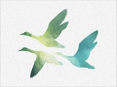 GEESE Archival Watercolor Art Print 5 x 7 Watercolor Painting Print Flying…