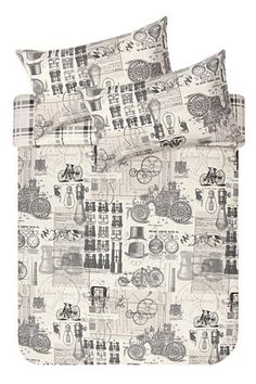 """This vintage industrial printed duvet cover set is made from a 132 thread count polycotton and will give any masculine room setting a fun and quirky edge. Single and three quarter include 1 standard pillowcase, double, queen and king include 2 standard pillowcases.<div class=""""pdpDescContent""""><BR /><BR /><b class=""""pdpDesc"""">Fabric Content:</b><BR />45% Cotton 55% Polyester<BR /><BR /><b class=""""pdpDesc"""">Wash Care:</b><BR>Lukewarm machine wash</div>"""