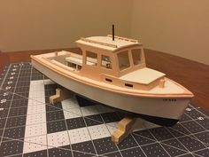 Model lobster boat, made in Maine, scratch building, scratch built, handmade model, Maine coast, model builder, model building, Maine artist, historic boat model, Little Cranberry Art
