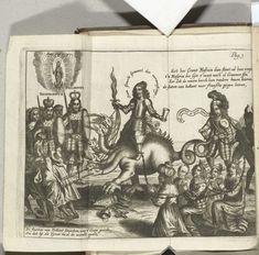 Anonymous   Spotprent op Cromwell, 1656, Anonymous, Jan van Souffenborgh, 1656   Spotprent op Oliver Cromwell uit 1656. Cromwell als de hoer van Babylon gezeten op de zevenkoppige draak bedreigt de katholieke vorsten Filips IV en Ferdinand III en vertrapt symbolen van de katholieke kerk. Vertegenwoordigers van de Staten van de Verenigde Provincies vluchten voor zijn geweld. Achter de draak de geketende gevangen vorsten van andere landen. Een ridder geketend door de duivel draait aan de…