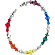 Handcrafted Genuine Heart Rainbow Bracelet MADE WITH SWAROVSKI ELEMENTS: Jewelry