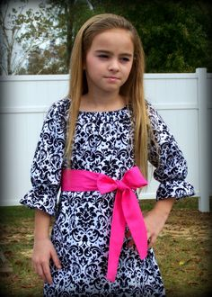 Custom Boutique Clothing Girls Dress Black and White Damask Christmas Special Occassion Peasant Dress with Hot Pink Sash, 3mos-8yr. $43.00, via Etsy. // making this!!