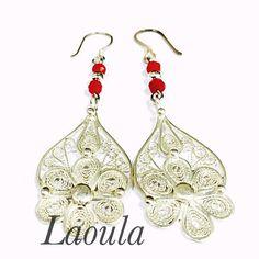 Boucles d'oreilles argent en filigrane, bijoux ethnique 267809