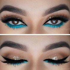 Shimmering gold and turquoise blue eye makeup