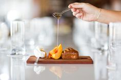 Gorgeous spice bread desert with peach at Cru Oyster Bar and Restaurant, Nantucket.