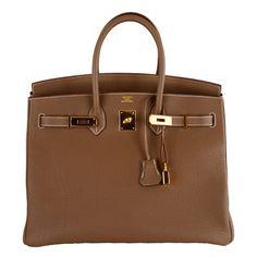 HERMES BIRKIN BAG ETOUPE 35CM GOLD HARDWARE WHATA BAG! ❤ liked on Polyvore featuring bags, handbags, purses, hermes, сумки, brown purse, brown handbags, hermes bag, hermes handbags and brown bag