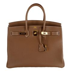 HERMES BIRKIN BAG ETOUPE 35CM GOLD HARDWARE WHATA BAG! ❤ liked on Polyvore featuring bags, handbags, purses, hermes, сумки, brown handbags, hermes purse, brown bag, hermes handbags and brown purse