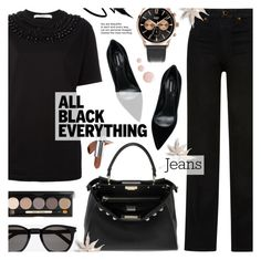 """""""Monochrome: All Black - Street Style"""" by anyasdesigns ❤ liked on Polyvore featuring Givenchy, Khaite, Fendi, Yves Saint Laurent, Henry London, Dsquared2, Bobbi Brown Cosmetics, Avon and Topshop"""