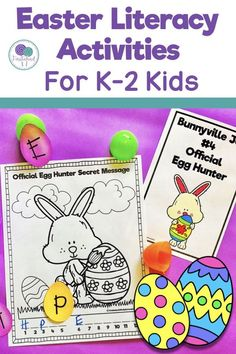 Easter literacy activities for kids are great in the first grade classroom.  The perfect book companion to The Easter Bunny's Assistant, kids will love these hands on literacy stations. where they will try out different jobs of the Easter Bunny! #easter #easteractivitiesforkids #easterliteracyactivities #easterbunnysassistant