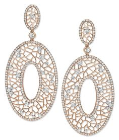 Rose Gold  Diamond Pendant Hoop Earrings - Cellini Jewelers