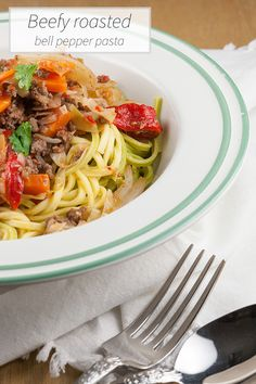 Try something different with this beefy roasted bell pepper pasta. Ready in 20 minutes, so it's perfect as a weekday meal. Serves 4 people.