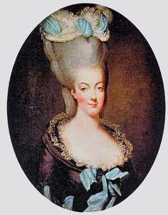 "Late 1770s - Marie Antoinette wearing a ""decadent"" coiffure by Élisabeth-Louise Vigée-Lebrun"
