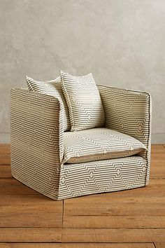 Striped Carlier Slipcover Armchair - anthropologie.com