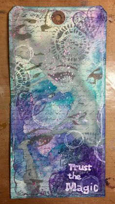 Such a dreamy tag! Check out the hidden faces. Love this tag from Tddugnolle - student work from my Inventive Ink Colorful Mixed Media Effects class. Newsletter subscribers receive a discount: http://www.marjiekemper.com/newsletter-sign-up