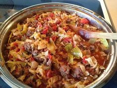 "It was called unstuffed cabbage rolls in the book but we call it just ""Cabbage Roll Casserole"". Not exactly as but if u do not have the inclination to fuss with cabbage rolls. Beef Recipes, Cooking Recipes, Healthy Recipes, Easy Recipes, Recipies, Soup Recipes, Kitchen Recipes, Diabetic Recipes, Gourmet Recipes"