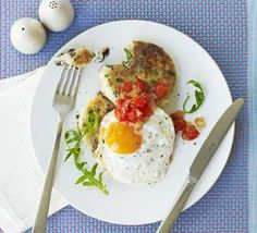 Savoury black pudding makes these potato cakes moreish, serve for supper or brunch