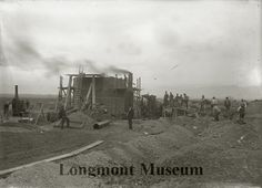 Black and white print of the sugar factory under construction. Longmont, Colorado Exact Date	1903