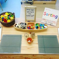 A sorting provocation. The first discussion asked children what they thought sorting was. As a lead up question children were asked what things we sort in our classroom. Here are some responses which supported their understanding and linkage to real life applications: sorting materials at construction, sorting in the Tenzies game, sorting the Russian Dolls, sorting our kind of writing (e.g. lists, books, cards, etc.), sorting markers, paint brushes, and books.