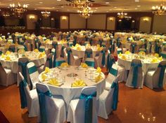 Vells Party Center in Medina, OH Turquoise and Yellow