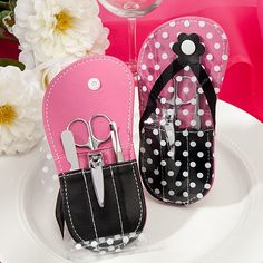 Sweet Sixteen Party! Flip Flop Design Manicure Set.  Practical and Cute!  www.ceceliasbestwishes.com