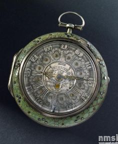 Verge watch in silver inner case, shagreen outer case by Jas Shearwood, London, no.3028, silver dial, calendar. Hall marked 1759
