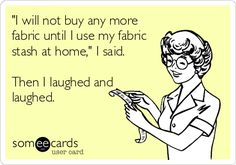 """I will not buy anymore fabric until I use my fabric stash at home."" I said.  Then I laughed and laughed."
