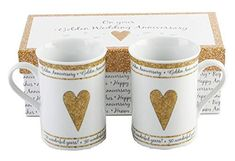 50th Golden Wedding Anniversary Gift Set Ceramic Mugs Golden Wedding Anniversary Gifts, 50th Anniversary Gifts, Anniversary Ideas, Souvenir Display, Wedding Gallery, Wedding Sets, Wedding Trends, Wedding Favors, Wedding Invitations