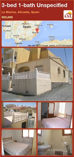 Unspecified for Sale in La Marina, Alicante, Spain with 3 bedrooms, 1 bathroom - A Spanish Life Single Bedroom, Double Bedroom, Valencia, Open Plan Kitchen Living Room, Alicante Spain, Townhouse, Terrace, Bathroom, Life