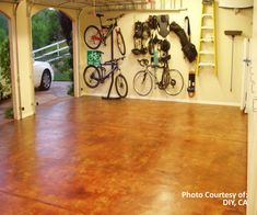 Beautiful eco-friendly concrete stain and refinishing materials for reflooring our garage, laundry, and kitchen.  No more hideous laminate!