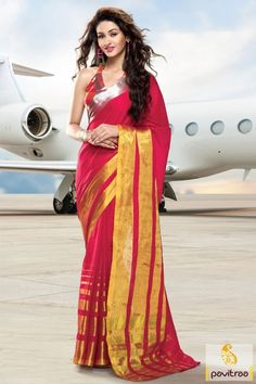 Be a fashion diva with yellow and red color cotton fabric saree. This daily wear saree online shopping collection with discount offer and reasonable price. #saree, #casualsaree more: http://www.pavitraa.in/store/cotton-sarees/