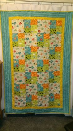 My last Project Linus quilt for ocean themed  hospice camp.