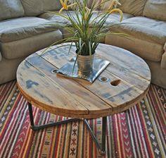 Reclaimed wood spool table