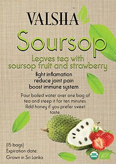 Organic SoursopGraviola tea cut leaves with Soursop fruit and strawberrylimited edition * ** AMAZON BEST BUY ** #OrganicHerbalTea Soursop Fruit, Organic Herbal Tea, Gourmet Recipes, Health Benefits, Cool Things To Buy, Herbalism, Strawberry, Leaves, Amazon