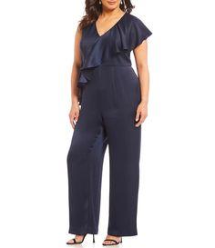 c144bd206f63 Eliza J Plus Size Ruffle Jumpsuit  Dillards Plus Clothing