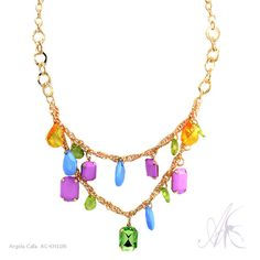 Layered Faceted Bead Charm Necklace by Argola Calla