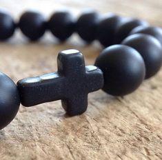 Fancy Leaf Pattern Religious CROSS Charm Black Square Shiny Bead Bracelet