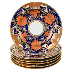Seven Spode Imari Style Dishes with the Mark of Prince of Wales Feathers | From a unique collection of antique and modern dinner plates at https://www.1stdibs.com/furniture/dining-entertaining/dinner-plates/