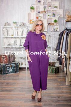 М9075: Платье Крупа фиолетовое, вискоза, размер 52/54,Lyuna. Украшение цветок из кожи.